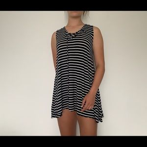 Stripped Lace Up Dress
